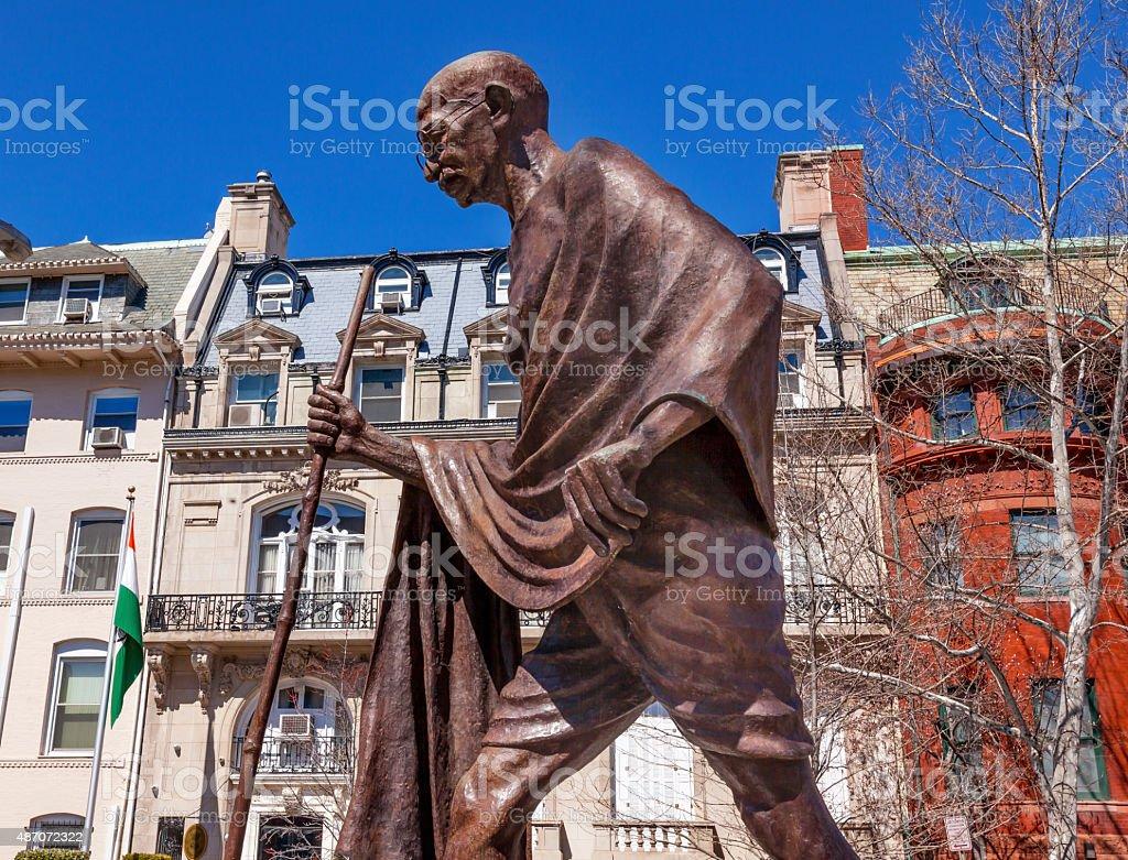 Gandhi Statue Indian Embassy Embassy Row Washington DC stock photo