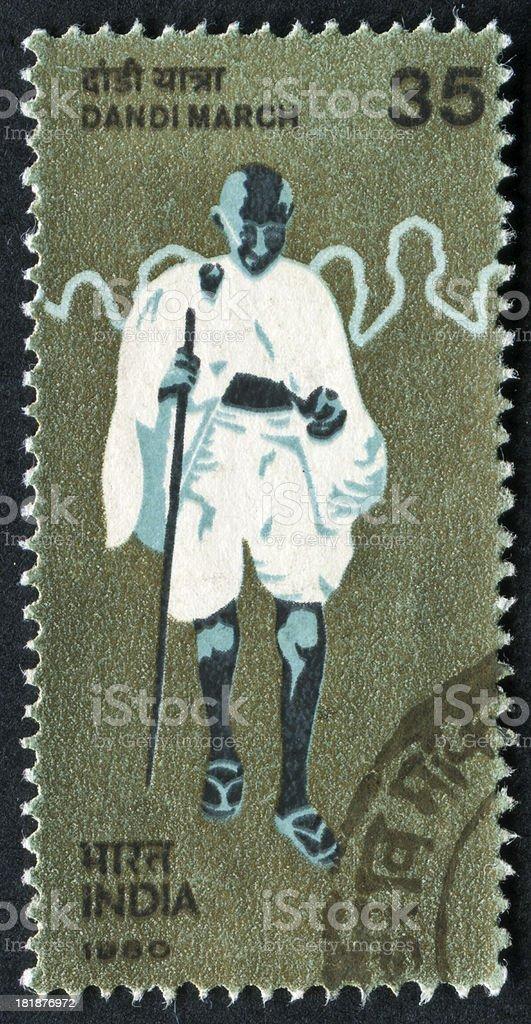 Gandhi's Salt March Stamp stock photo