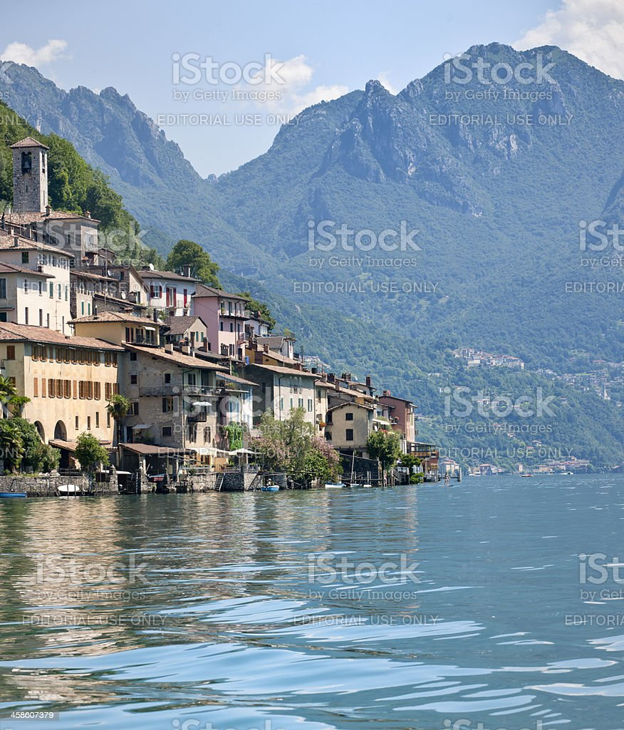 Gandria, village on the shore of Lake Lugano royalty-free stock photo