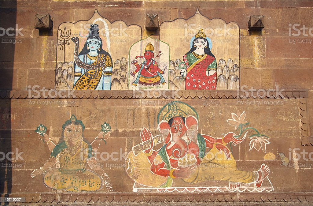 Ganesh and other hinduist religion drawings in India royalty-free stock photo