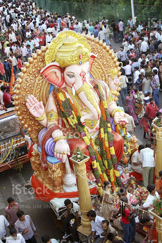 Ganesh idols on the way for immersion royalty-free stock photo