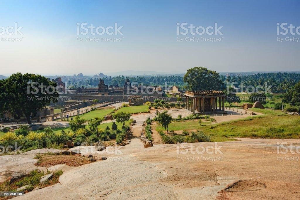 Ganesh statue in ancient temple of Hampi, India stock photo