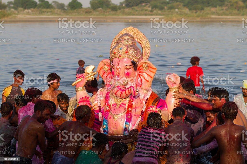 Ganesha Chaturthi, New Delhi, India stock photo