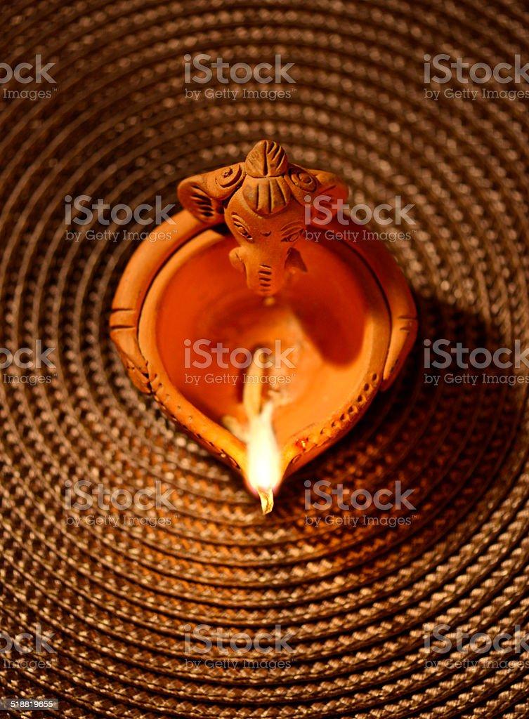 Ganesha lamp stock photo
