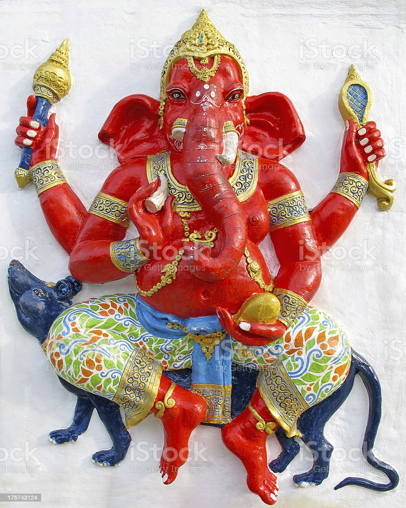 Ganesha ride a rat royalty-free stock photo