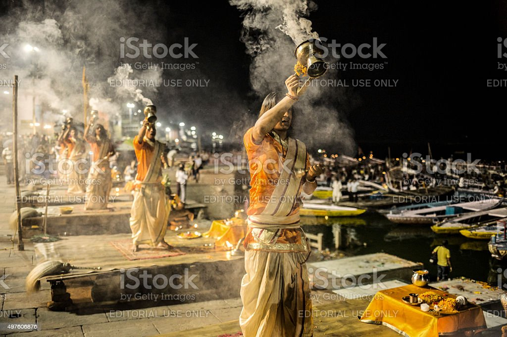 Ganga Aarti in Varanasi India stock photo
