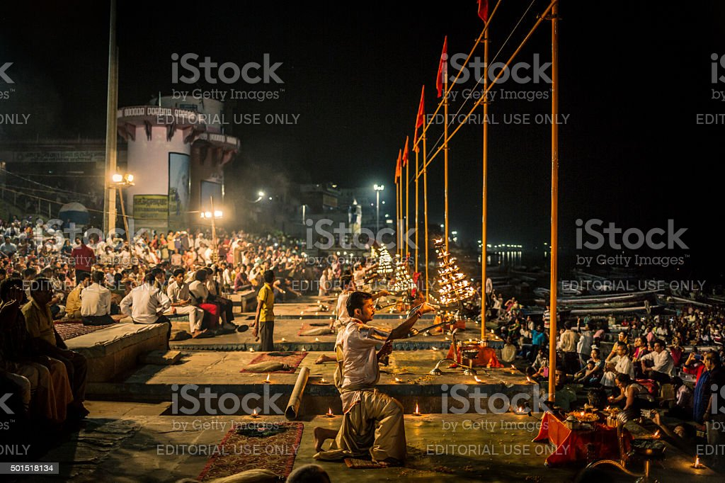 Ganga Aarti Varanasi India stock photo