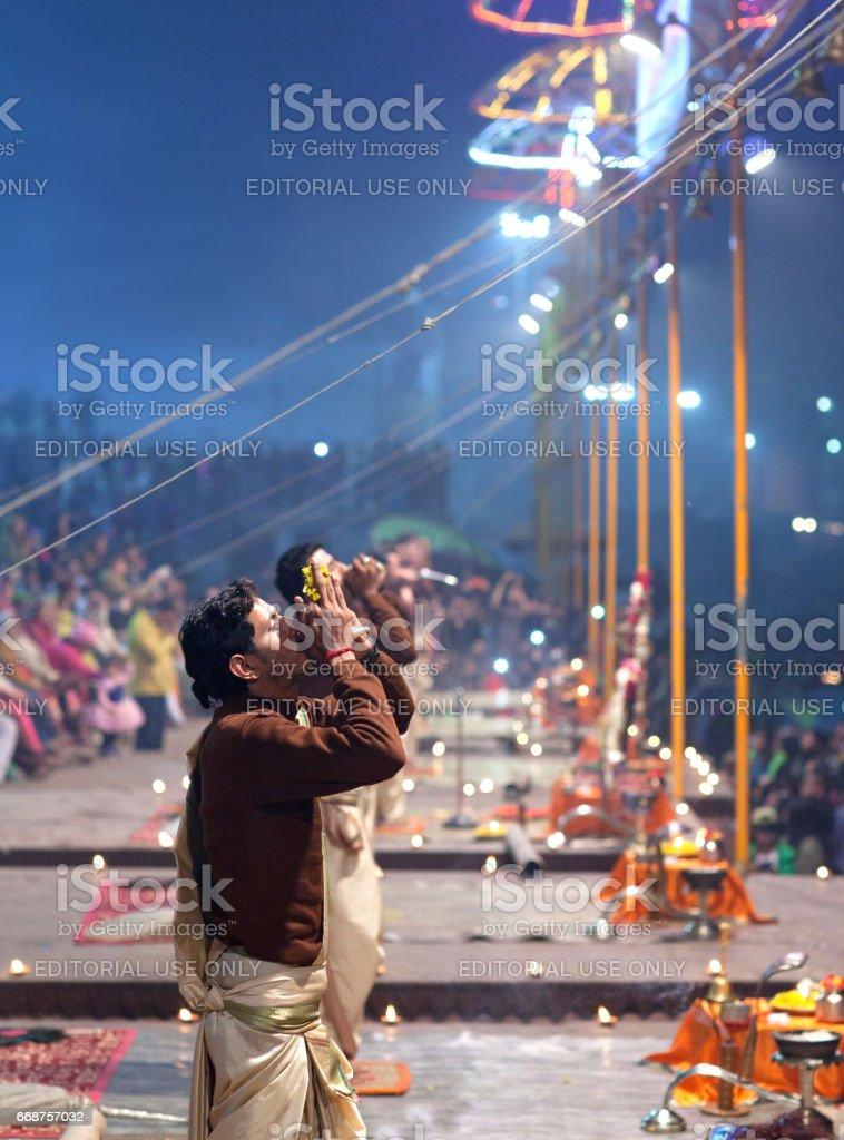 Ganga Maha Aarti Ceremony in Varanasi, India stock photo