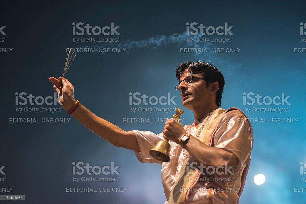 Ganga Maha Aarti Ceremony, Varanasi, India stock photo