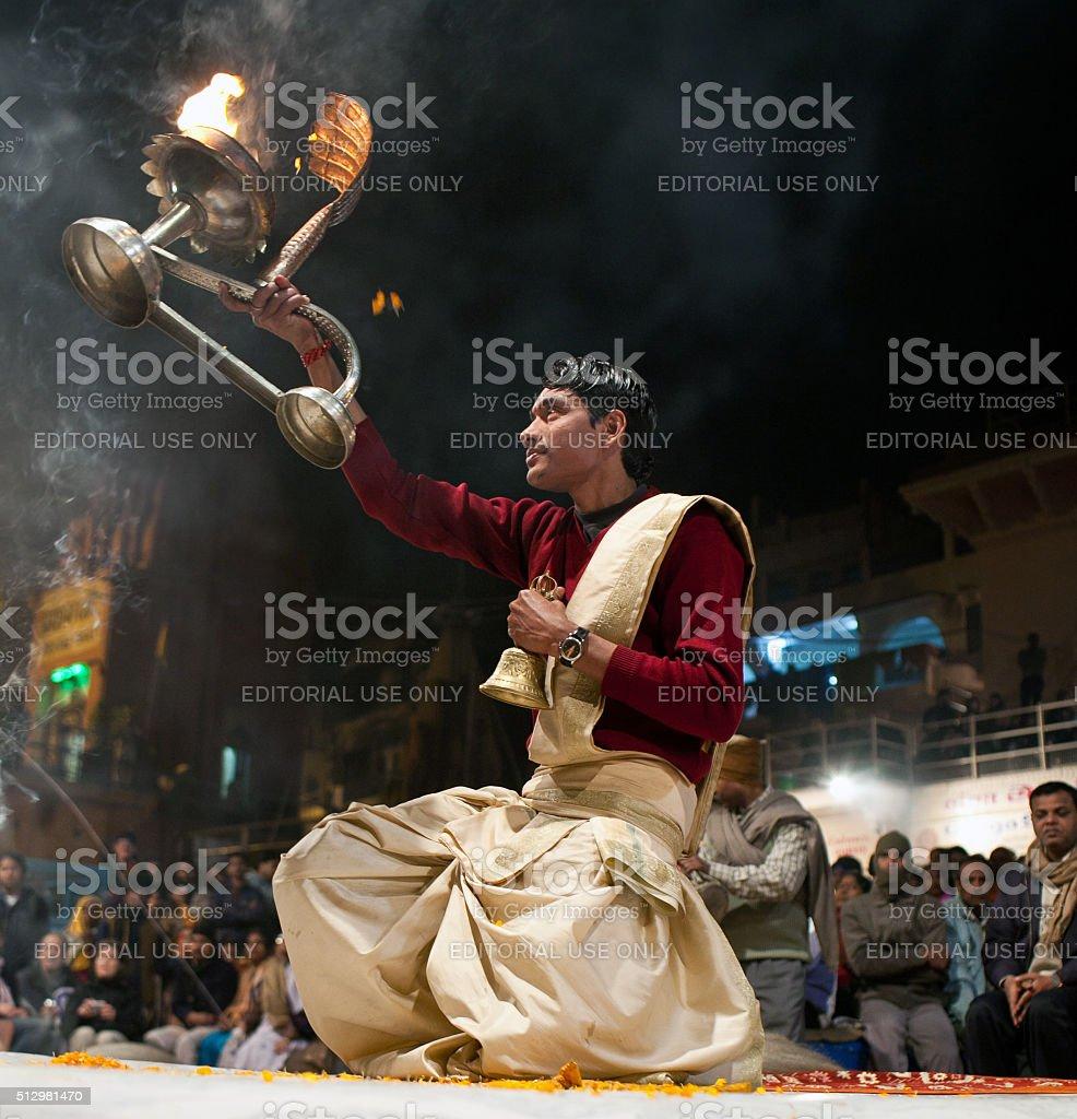 Ganga Maha Aarti, India stock photo