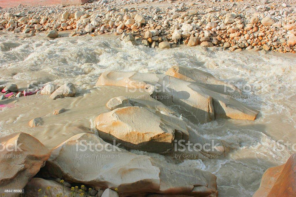 Ganga river flowing in Gangotri stock photo