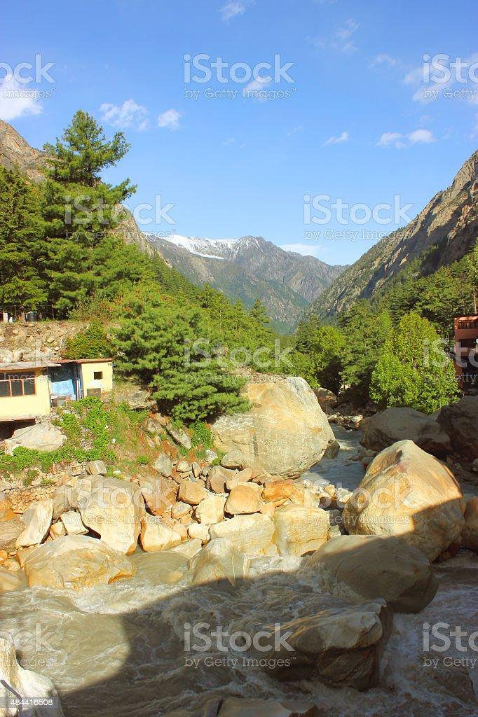 Ganga river flowing in Himalaya stock photo