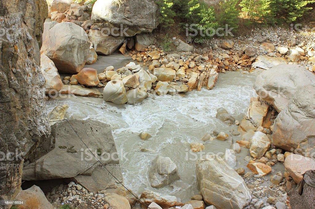Ganga river in Gangotri stock photo