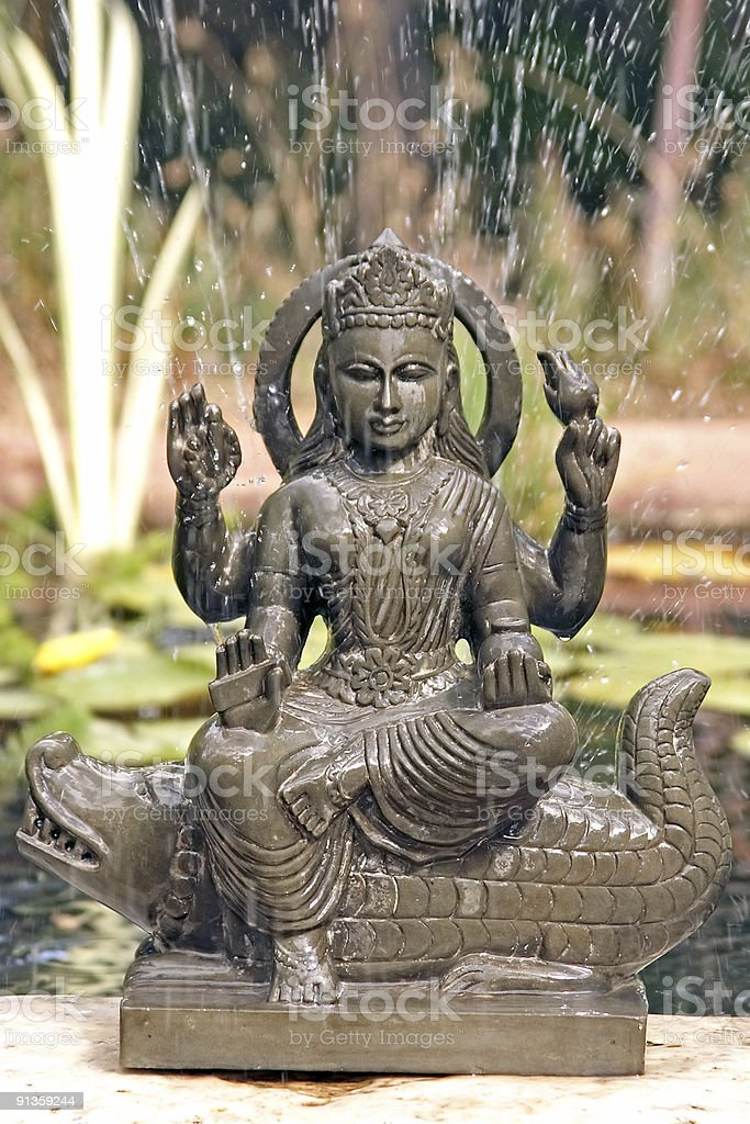 Ganga statue with fountain of water royalty-free stock photo