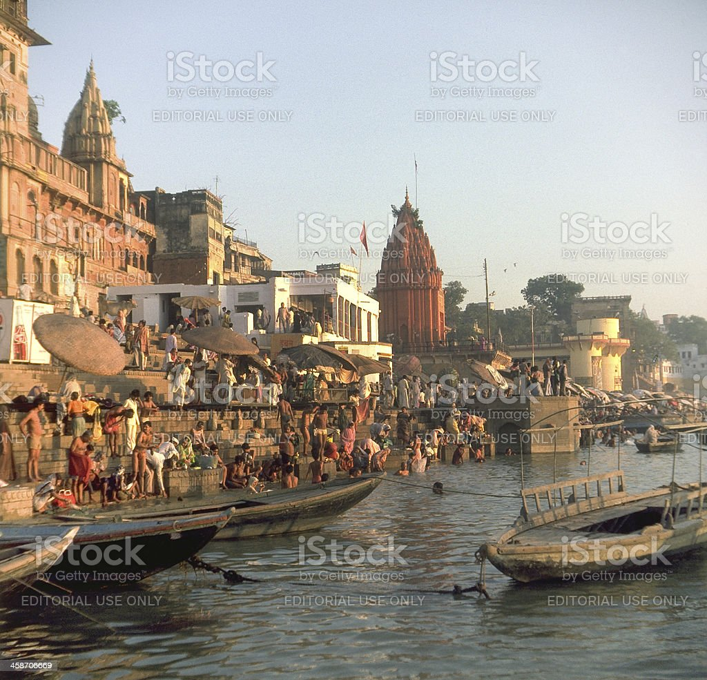 Ganges River Boats at dawn stock photo