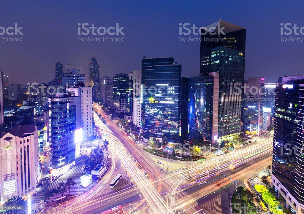 Gangnam District in Seoul city stock photo