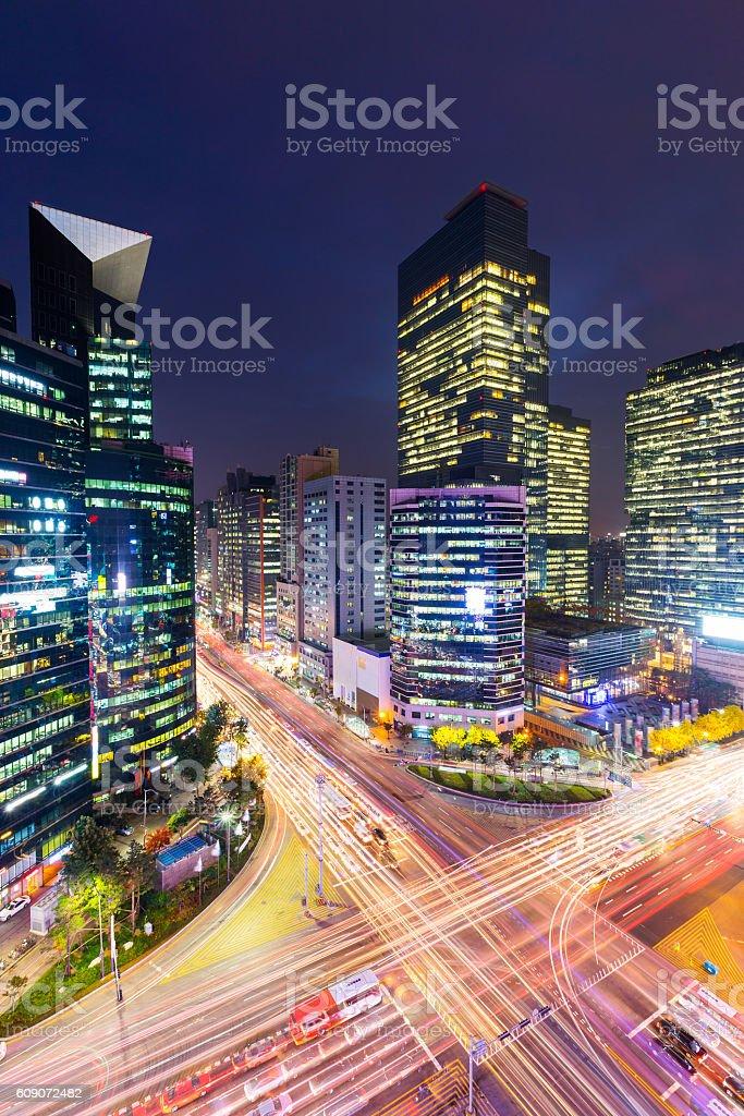 Gangnam district in Seoul stock photo