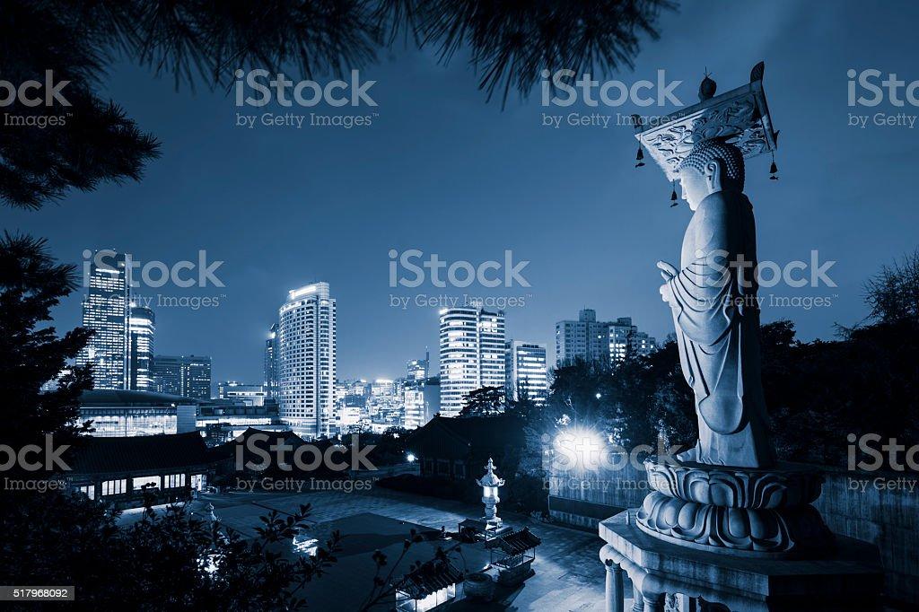 Gangnam Seoul at Night stock photo