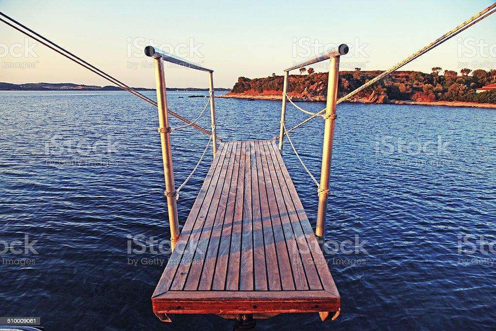 Gangplank of the sailboat stock photo