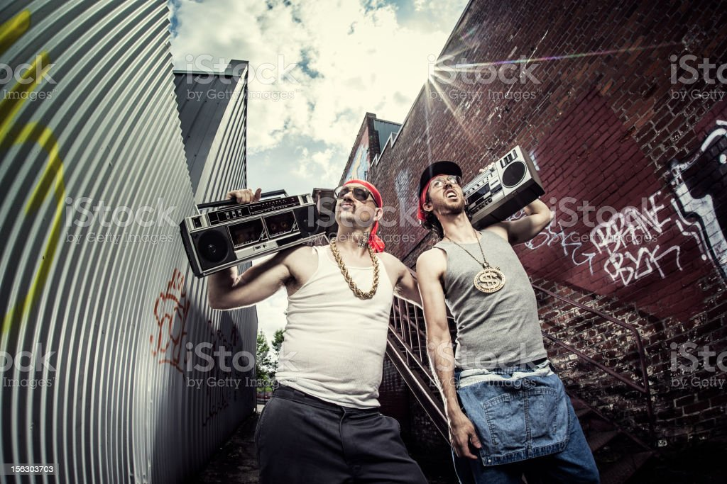 Gangstas with Boomboxes royalty-free stock photo