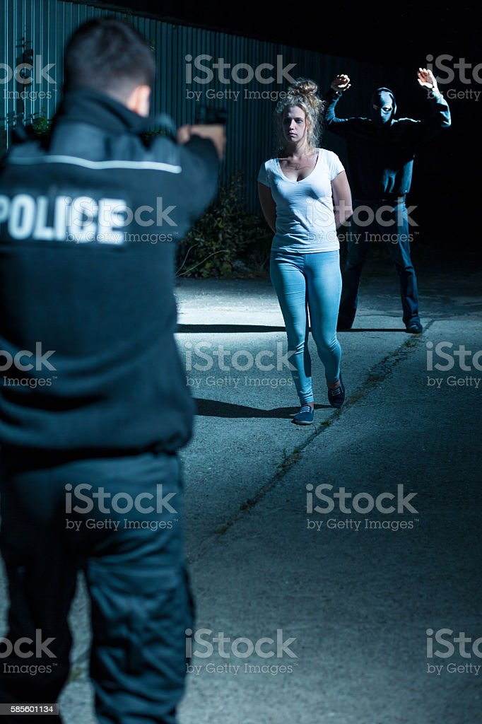 Gangster and hostage stock photo