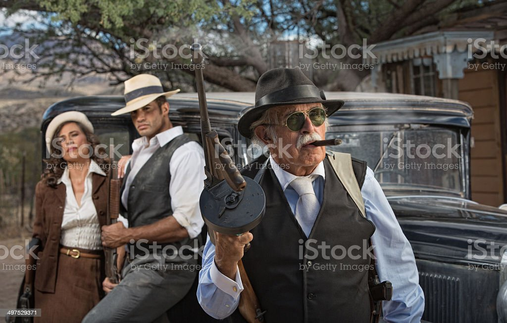 Gangster Boss with Partners stock photo