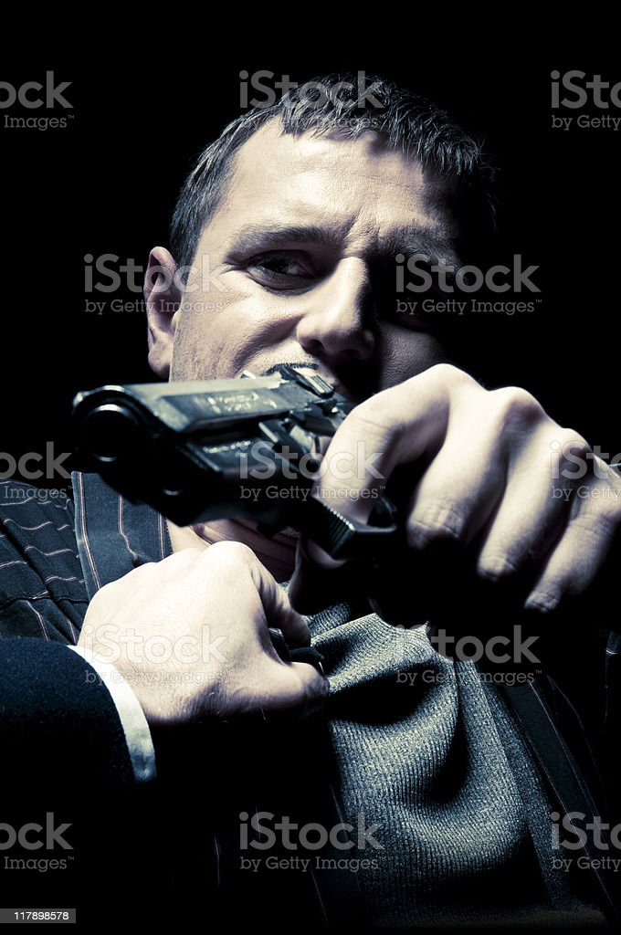 Gangster Chased by Police stock photo