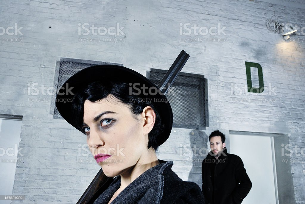 gangster couple retro style royalty-free stock photo