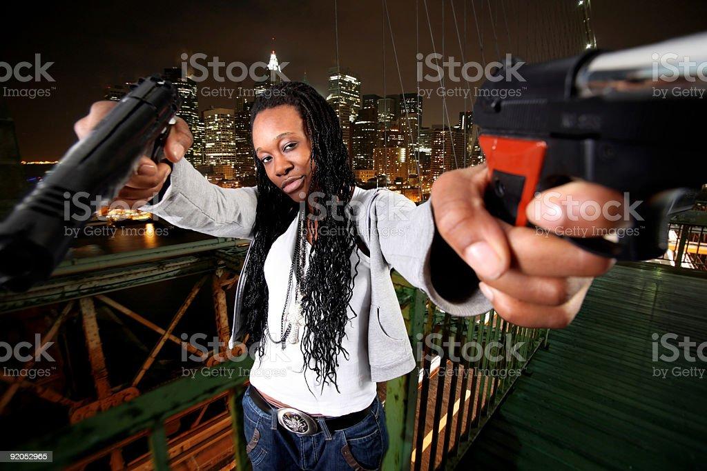 NY gangster in Brooklyn bridge royalty-free stock photo