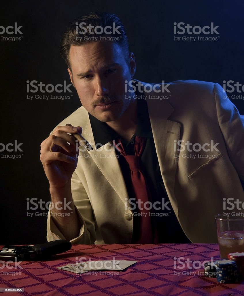 gangster playing poker royalty-free stock photo