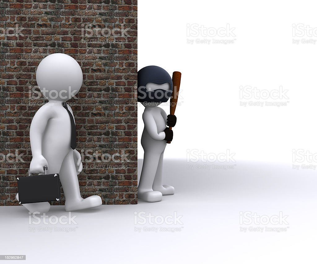 Gangster robbing a businessman royalty-free stock photo