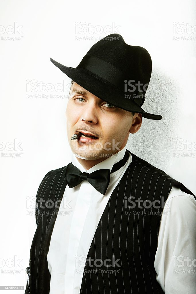 Gangster with cigar royalty-free stock photo
