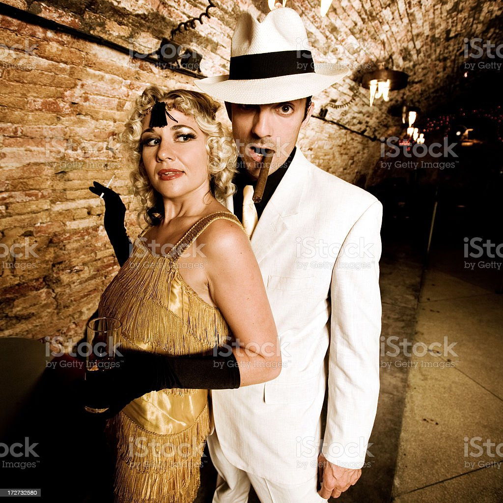 Gangster with his girl royalty-free stock photo