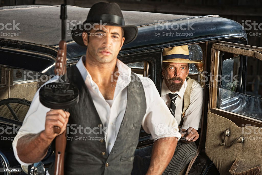 Gangster With Machine Gun and Partner stock photo