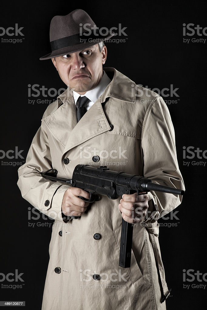 gangster with machine-gun stock photo