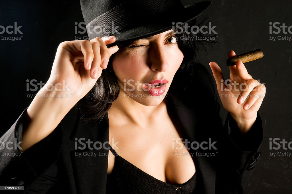 gangster woman winking royalty-free stock photo