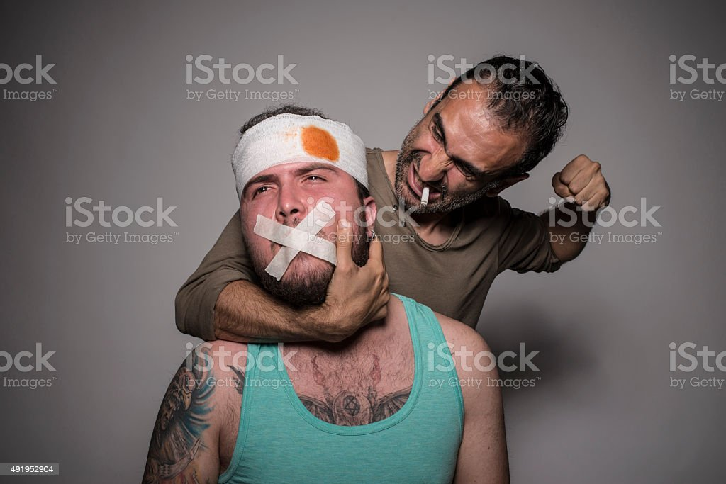 Gangsters are fighting stock photo