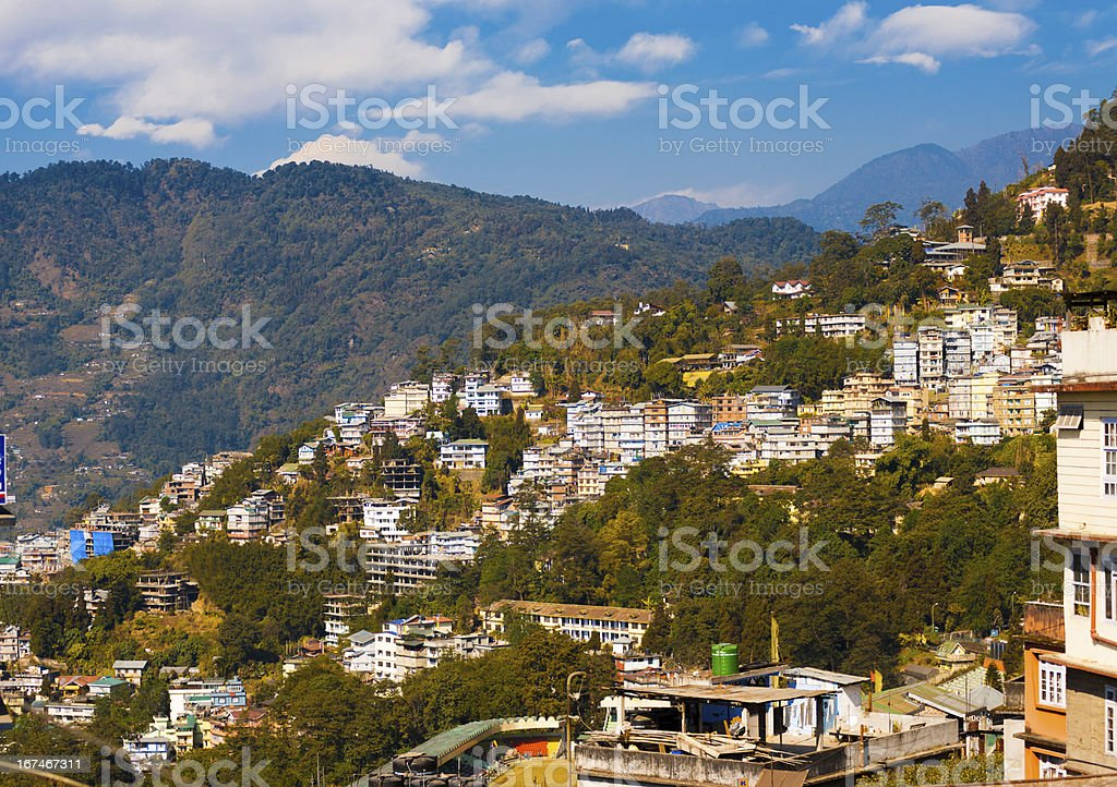 Gangtok Buildings Hillside Landscape Hill Station royalty-free stock photo