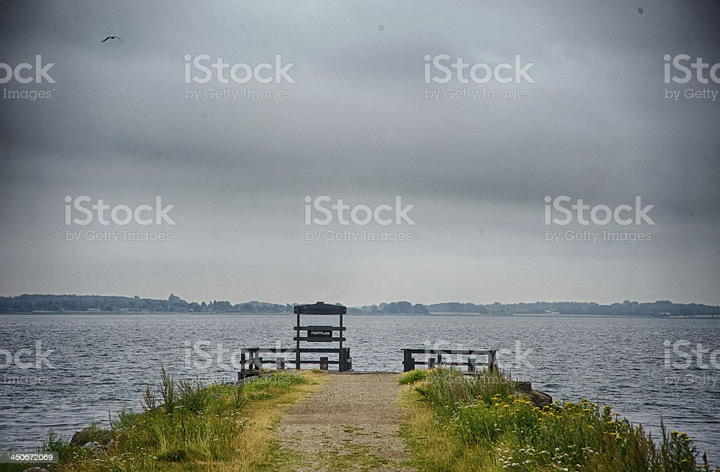 Gangway and cloudscape stock photo
