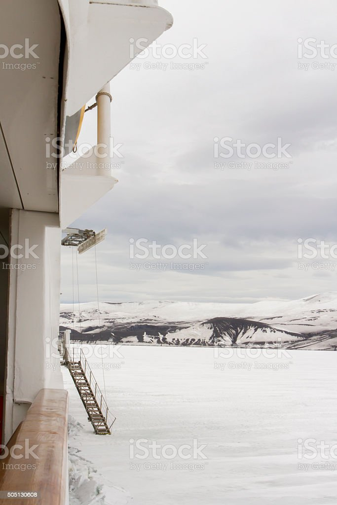 Gangway on ship parked in shelf ice stock photo