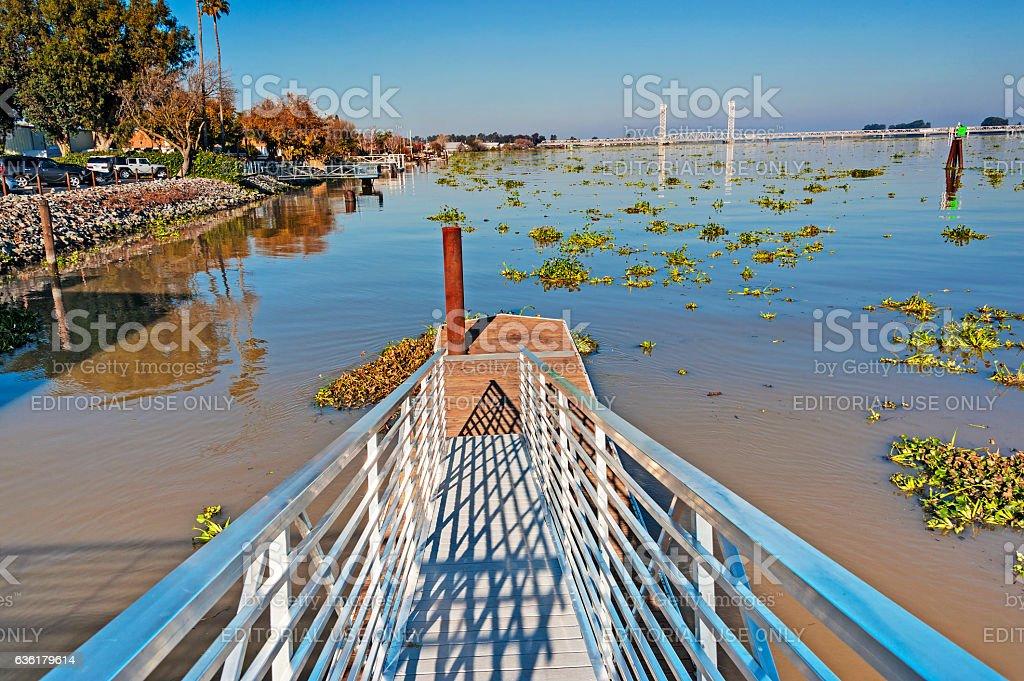 Gangway to Sacramento River in Rio Vista stock photo