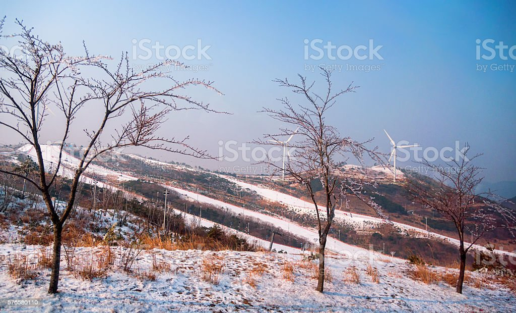 Gangwon-do, Daemyung Vivaldi Park ski resorts, attractions stock photo