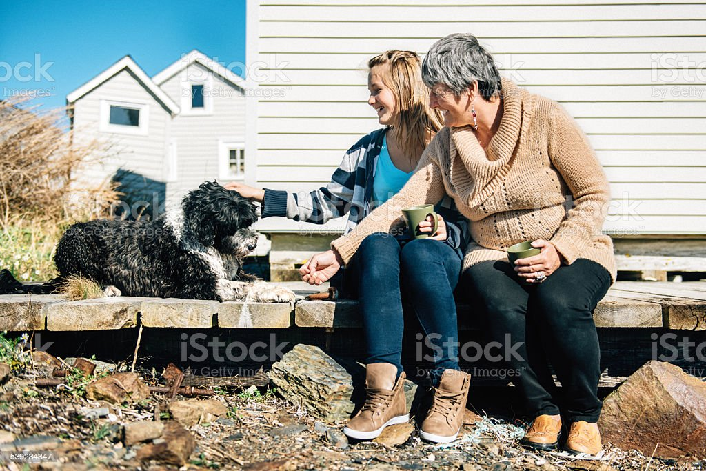 Ganmother and Granddaughter feeding their dog stock photo