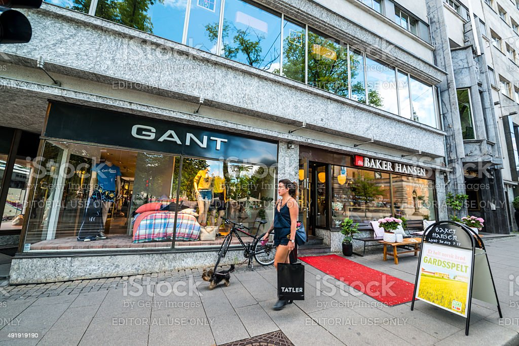 Gant shop and Bakery in Oslo, Norway stock photo