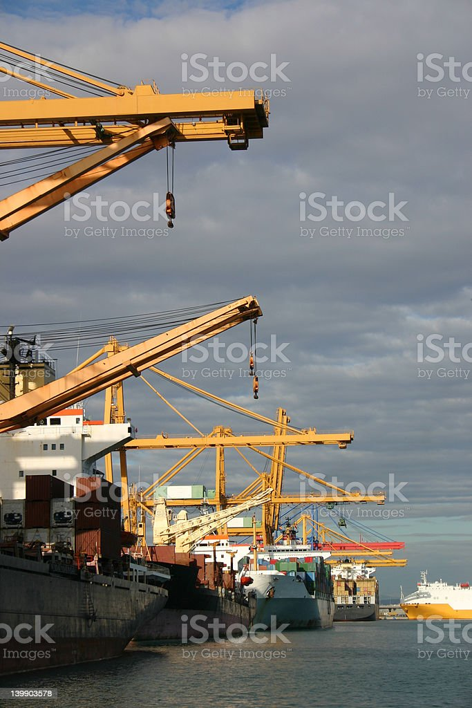 Gantry cranes and Container Ships 5 royalty-free stock photo
