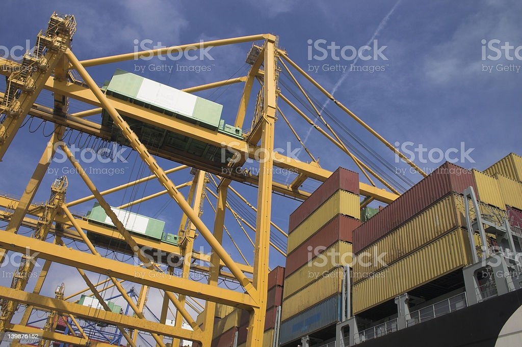 Gantry cranes and Container Ships royalty-free stock photo