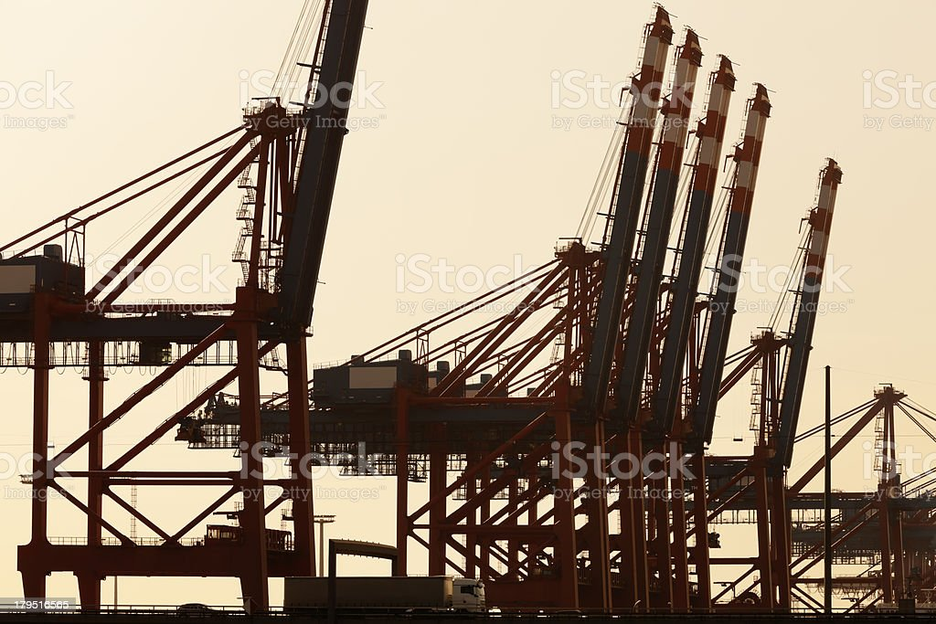 Gantry Cranes, Container Terminal, Hamburg Harbour, Germany royalty-free stock photo