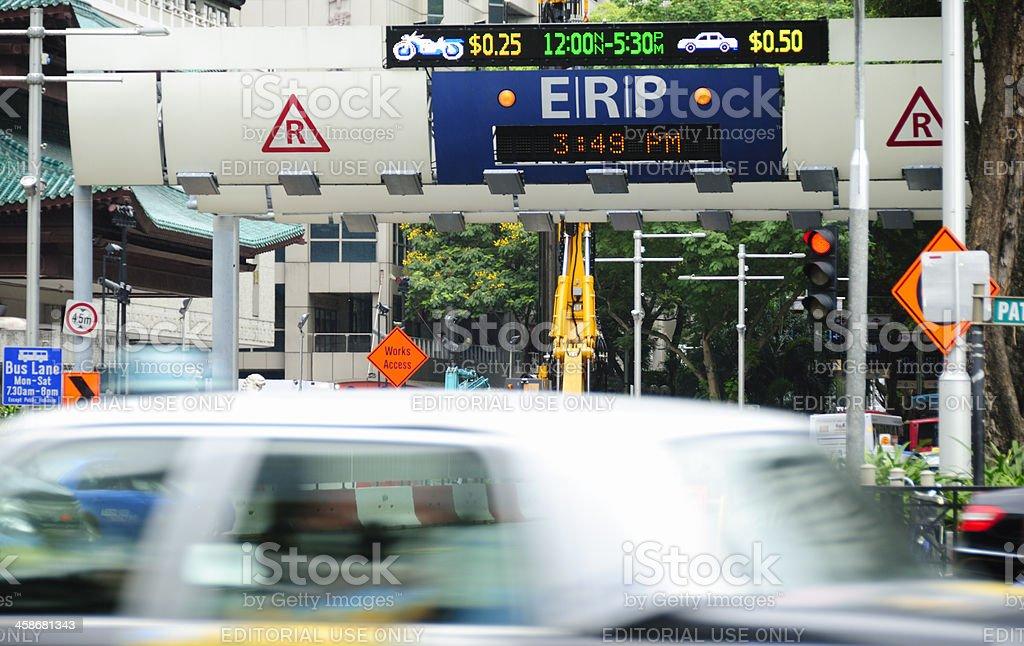 ERP Gantry, Orchard Road, Singapore stock photo