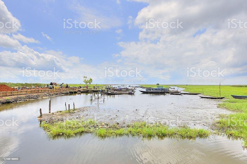 Ganvie Abomey Calavi Dock stock photo
