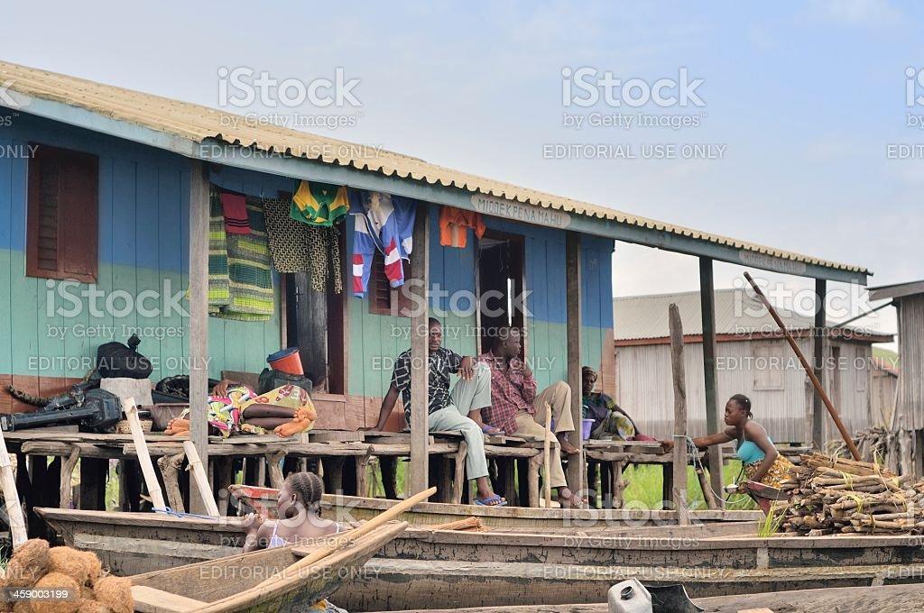 Ganvie Family On Porch stock photo